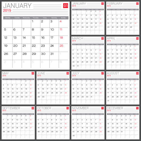 Calendar 2015 vector design template. Simple blank calendar illustration. Vector