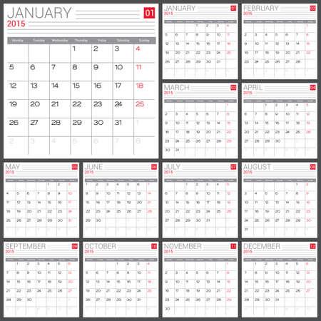 red ribbon week: Calendar 2015 vector design template. Simple blank calendar illustration.