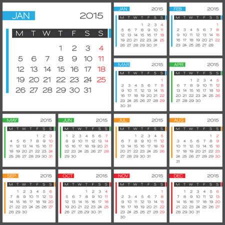 Calendar 2015 vector design template. Simple blank calendar illustration. Vector