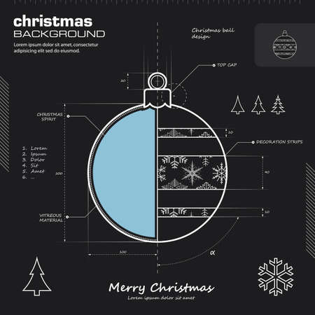 Christmas ball design vector background. Christmas card illustration. Infographics, icon, drawing, sketch, silhouette, blueprint concept. Vectores