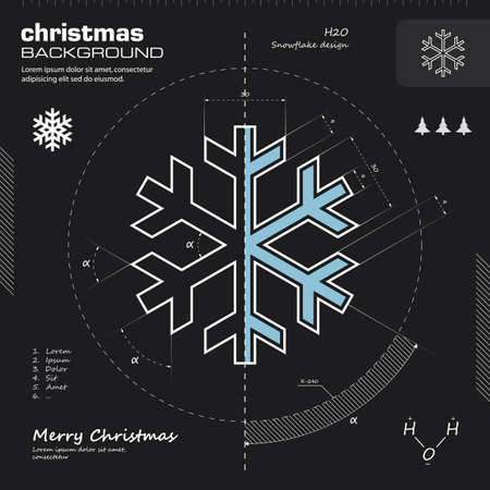 Snowflake design vector. Winter background. Christmas card illustration. Infographics, icon, drawing, sketch, silhouette, blueprint concept. Vector