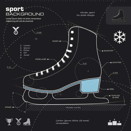 Ice skate design vector. Winter sport  background. Vector illustration. Infographics, icon, drawing, sketch, silhouette, blueprint concept. Illustration