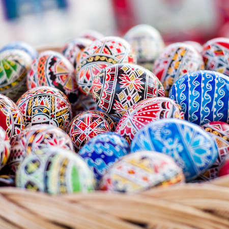 folklore: Decorated Easter eggs. Beautiful, colorful traditional Romanian handcrafted easter eggs. Folklore. Stock Photo