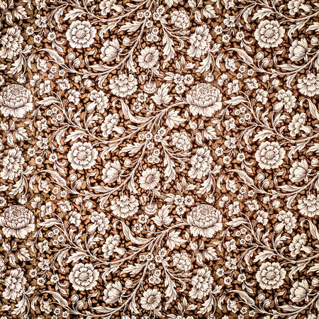 tapestry: Tapestry with flower pattern. Intricate flourish wallpaper. Stock Photo