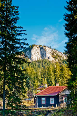no snow: Mountain cottage in evergreen forest. Hidden refuge at foot of rocky mountain. Stock Photo