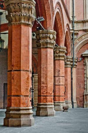 Castle columns architecture detail Bologna Italy. Renaissance arch and column detail.