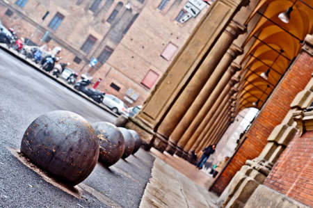 Portico city street view. Bologna, Italy. European city architecture detail.
