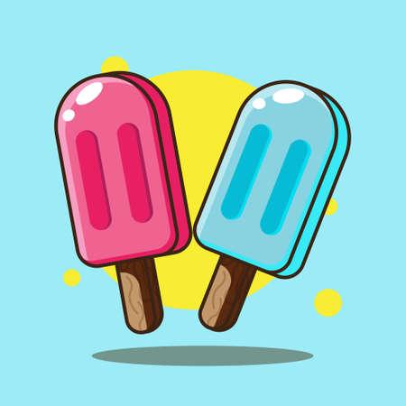 Ice Cream Cartoon Vector. Flat Cartoon Illustration Vector Design.