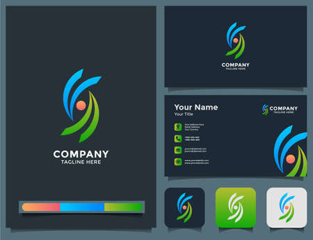 voa, va, abstract wave logo, icon app, and business card design