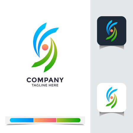 logo vector design of colorful teamwork. A unique, exclusive, elegant, professional, clean, simple, modern logo. Perfect logo for your any project, business, company, etc.