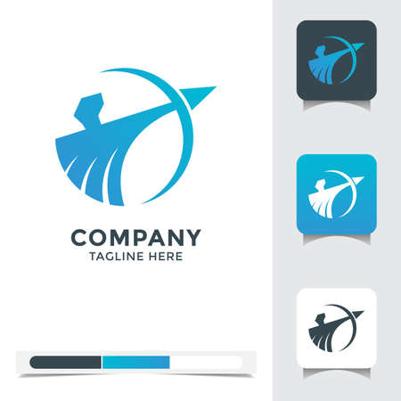 logo vector design of abstract archer. A unique, exclusive, elegant, professional, clean, simple, modern logo. Perfect logo for your any project, business, company, etc.