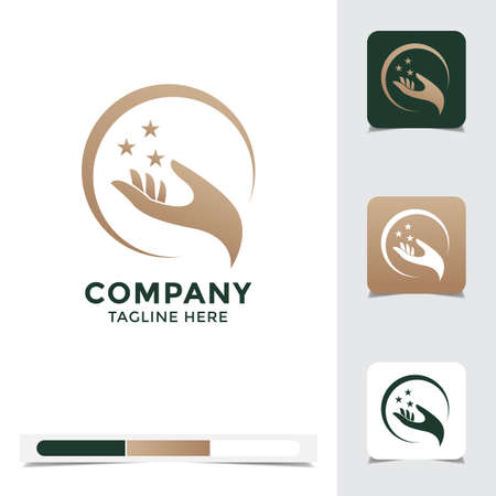 logo vector design of abstract hand. A unique, exclusive, elegant, professional, clean, simple, modern logo. Perfect logo for your any project, business, company, etc. Иллюстрация