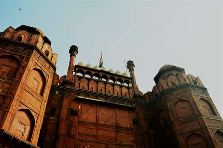 A view of Lahori gate of Red Fort in Delhi with an Indian flag on it Stock Photo