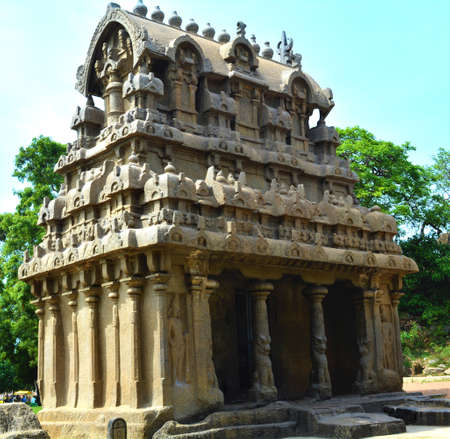 Great South Indian architecture, Ancient Panch Rathas Monolithic Hindu Temple in Mahabalipuram. Stock Photo