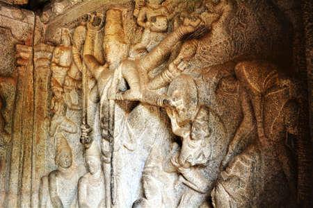 goddesses: Stone sculptures of Hindu gods and goddesses of Mahabalipuram cave temples in Tamil Nadu, India Editorial