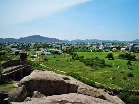 arial views: Arial view of the field and the town from the Gingee fort in Tamil Nadu, India