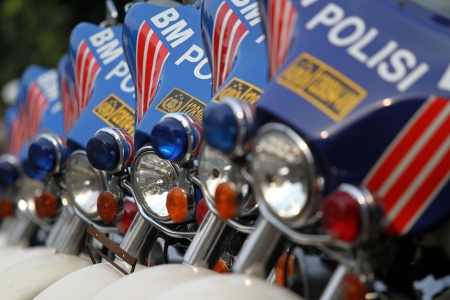 a white police motorcycle: Police Motorcycles Editorial