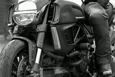 Riding big motorcycle Standard-Bild