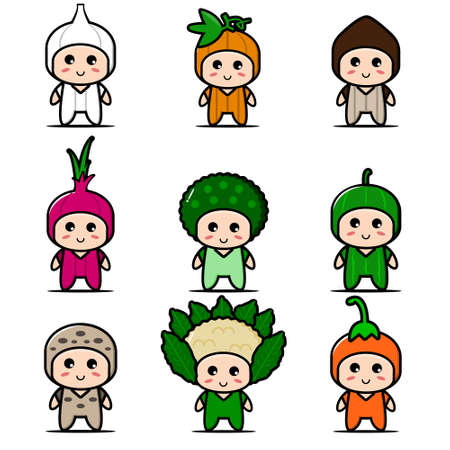 Cute vegetable mascot collection. Vector cartoon illustration design. Isolated on white background.