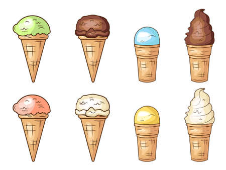 Cute ice cream se collection. Vector cartoon illustration design. Isolated on white background.