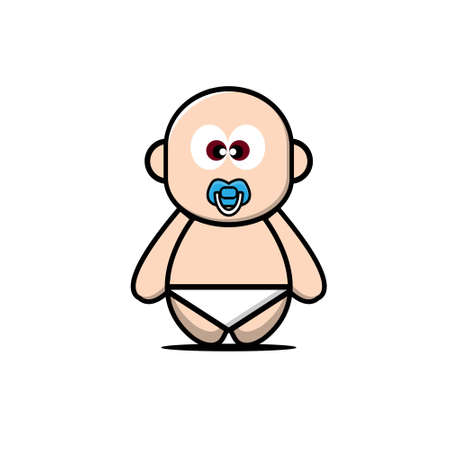 Cute baby character. Vector cartoon illustration design. Isolated on white background. Illustration