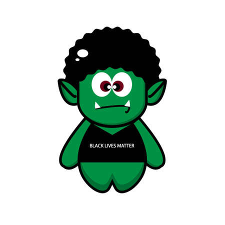 Cute orc with silhouette collection. vector cartoon illustration design. isolated on white background.