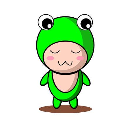 Cute frog mascot vector design