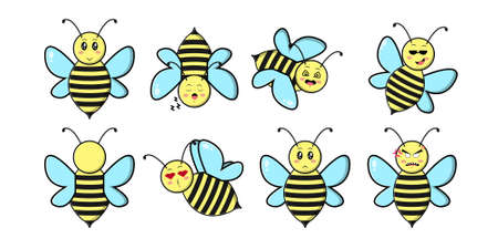 Cute bee mascot character collection. Vector cartoon illustration design. Isolated on white background. Illustration