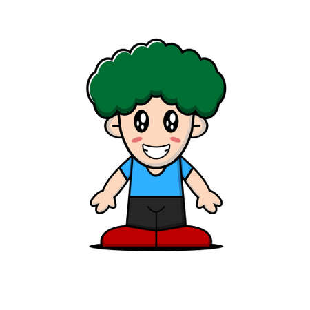 Cute boy character collection. Vector cartoon illustration design. Isolated on white background.