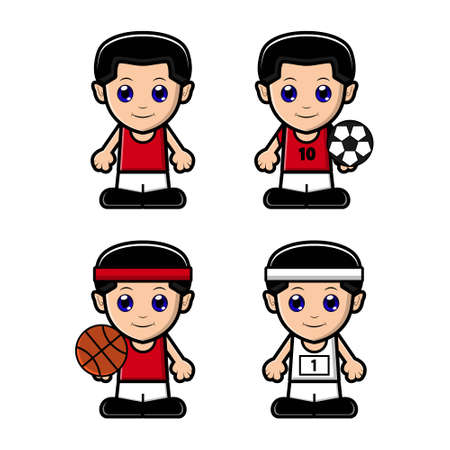 Cute boy sports character set collection. Vector cartoon illustration design. Isolated on white background.