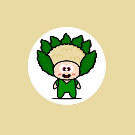Cute cauliflower vegetable mascot collection. Vector cartoon illustration design. Isolated on cream background.