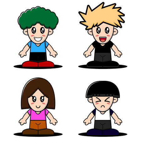 Cute boy and girl character collection. Vector cartoon illustration design. Isolated on white background.