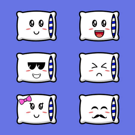 Cute pillow se collection. Vector character illustration design. Isolated on blue background. Stock Illustratie