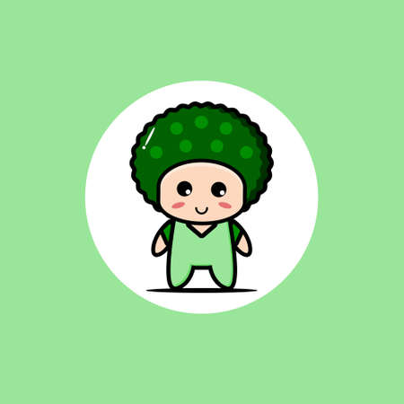 Cute broccoli vegetable mascot collection. Vector cartoon illustration design. Isolated on green background.