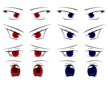 Cute cartoon eyes set red and blue illustration.