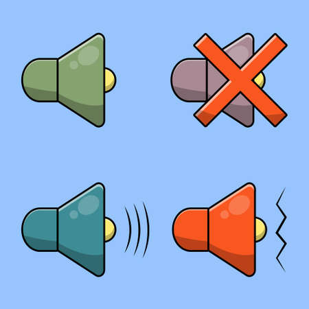 Cute flat sound set collection. Vector cartoon illustration design. Isolated on blue background.