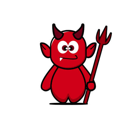 Cute devil mascot. Vector cartoon illustration design. Isolated on white background. Ilustracja