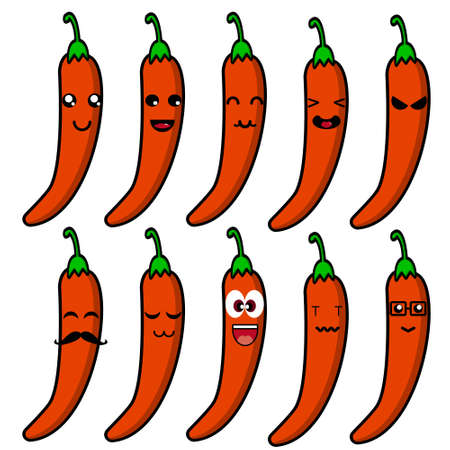 Cute chili vegetable mascot collection. Vector cartoon illustration design. Isolated on white background.