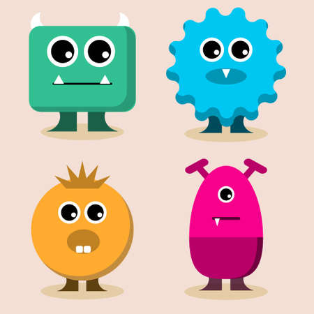 Cute Monster Set collection. Vector cartoon illustration design. Isolated on cream background.