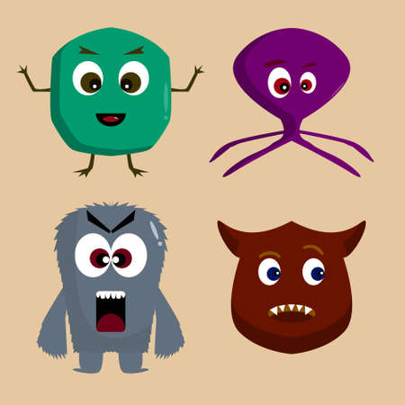 Cute Monster Set collection. Vector cartoon illustration design. Isolated on brown background.
