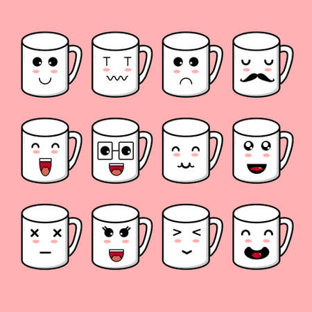 Cute Mug Character Collection. Vector cartoon illustration design. Isolated on pink background.