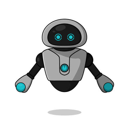 Cute robot mascot character collection. vector cartoon illustration design. Isolated on white background. Robot character concept.