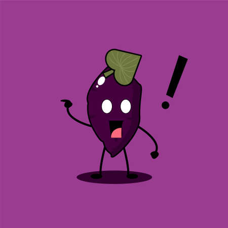 Cute Purple Sweet Potato Mascot Character Collection. Vector cartoon illustration design. Isolated on purple background.