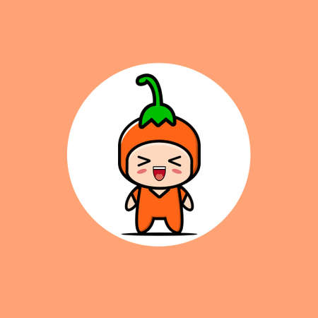 Cute chili vegetable mascot collection. Vector cartoon illustration design. Isolated on orange background.