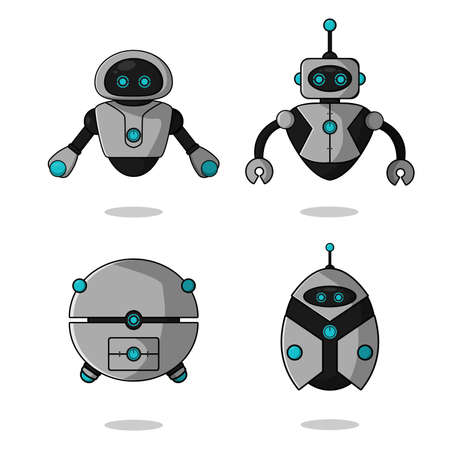 Cute robot mascot character collection. vector cartoon illustration design. Isolated on white background. Robot character set concept.