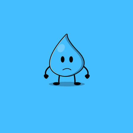 Cute water collection. Vector cartoon illustration. Isolated on blue background.