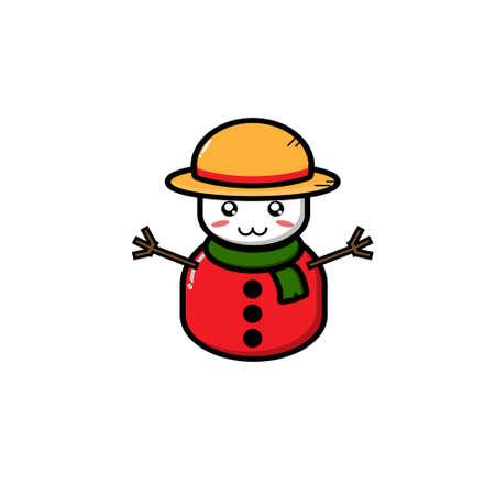 Cute Snowman Mascot Set Collection. Vector cartoon illustration design. Vettoriali