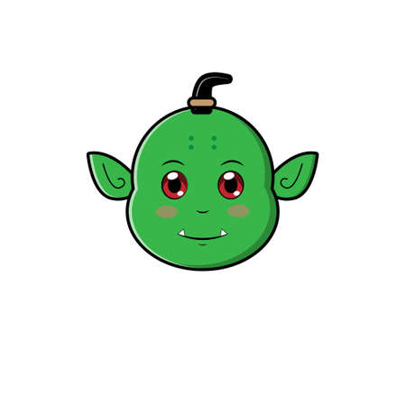 Cute Head Orc Character. Vector cartoon illustration design. Isolated on white background. Illustration