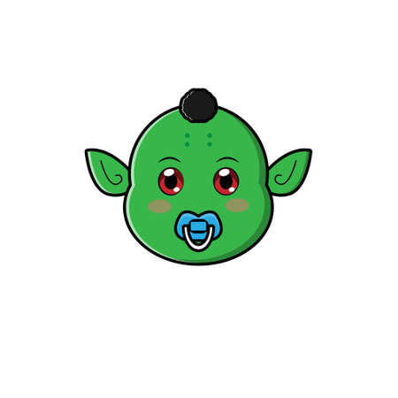 Cute Head Baby Orc Character. Vector cartoon illustration design. Isolated on white background.
