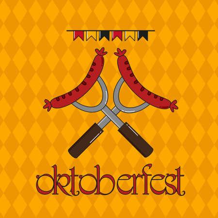 Octoberfest Festival Concept. Vintage vector color illustration design. Stock Illustratie